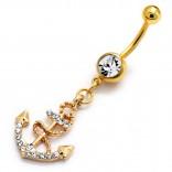 """Pozlacený piercing do pupíku banánek s krystaly """"Kotva"""""""