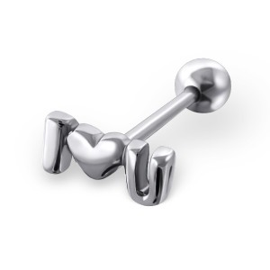 "Piercing do jazyka činka 1,6x17 ""I love u"""