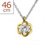 """Ocelový náhrdelník z chirurgické oceli s pozlaceným přívěskem """"Floralibus"""""""