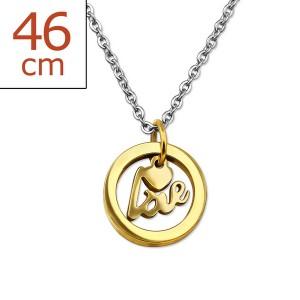 """Ocelový náhrdelník z chirurgické oceli s pozlaceným přívěskem """"Cupiens"""". gd."""