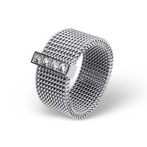 """Prsten z chirurgické oceli s krystaly """"Kate"""""""